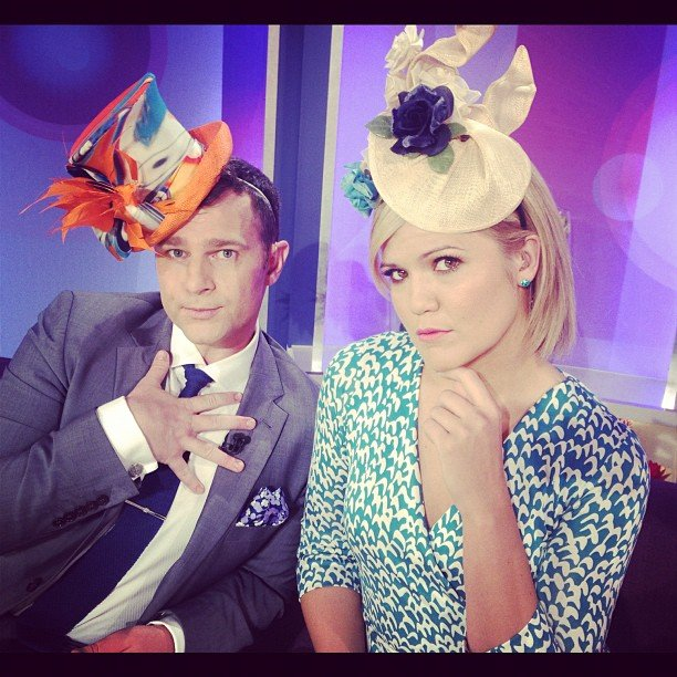 Mornings co-hosts David Campbell and Sarah Harris dressed up in the studio. Source: Twitter user @DavidCampbell73