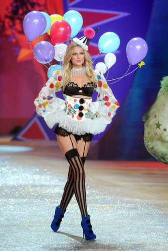 Toni Garrn wore balloons as part of the Victoria's Secret Fashion Show.