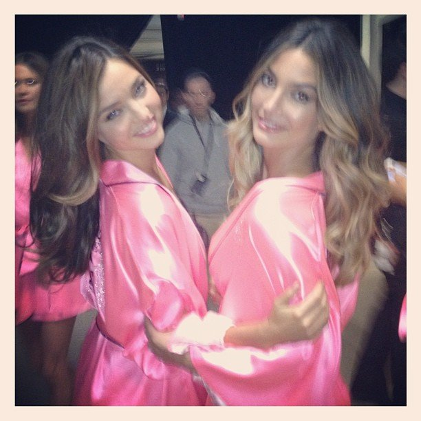 Miranda Kerr and Lily Aldridge shared a hug. Source: Instagram user mirandakerrverified