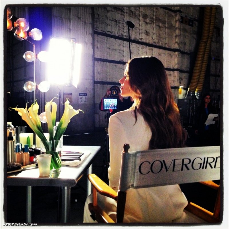 Sofia Vergara shared a photo from the set of a CoverGirl shoot. Source: Sofia Vergara on WhoSay