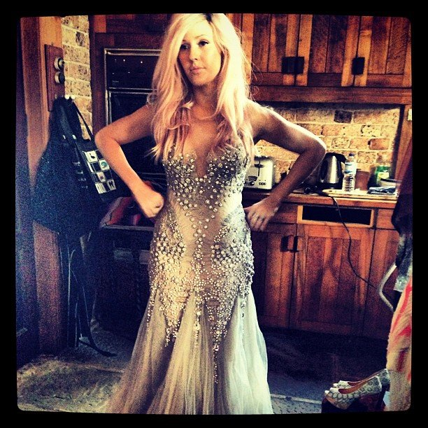 Ellie Goulding tried on a gorgeous gown. Source: Twitter user elliegoulding