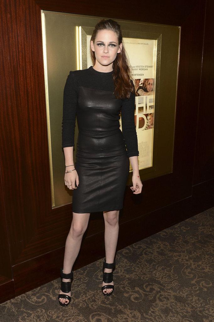 Kristen Stewart Wears a Striking Leather Dress For On the Road in NYC