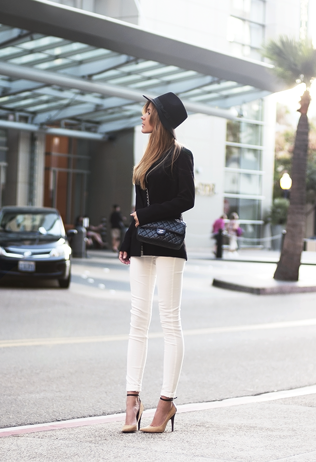 A sophisticated take on white and black that's polished and just a little sexy. Source: Lookbook.nu