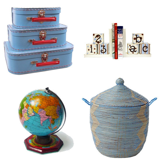 Accent pieces on Brooks's bookshelves help personalize the room. Among the pieces Molly chose are: cardboard French suitcases ($24), New Arrivals' ABC 123 Bookends ($50), Serena and Lily's small Senegalese storage basket ($68), and an antique tin globe ($375).