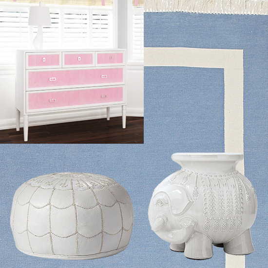 A large Serena and Lily Chambray Border Frame Rug (starting at $300) provides a soft place for baby Brooks to play on the floor. Molly customized Ducduc's Savanna changer ($1,950) with blue paint and three drawers across the top to go with the rest of the room, while Serena and Lily's Ellie side table ($145) and White Moroccan Leather Pouf ($450) provides mom and tot a comfortable place to rest both their things, and themselves in the room.