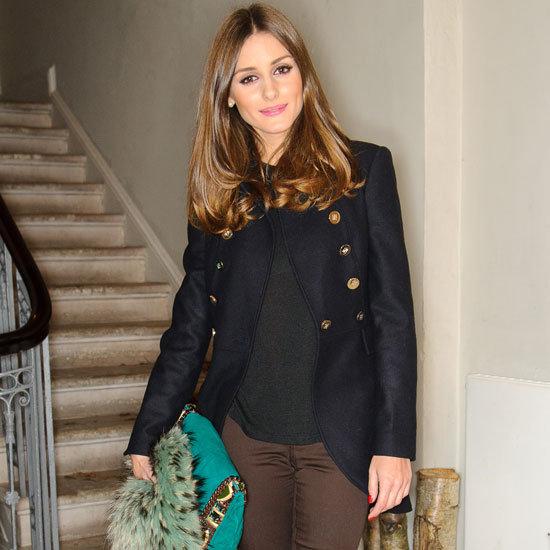 Olivia Palermo Wearing Navy Riding Coat