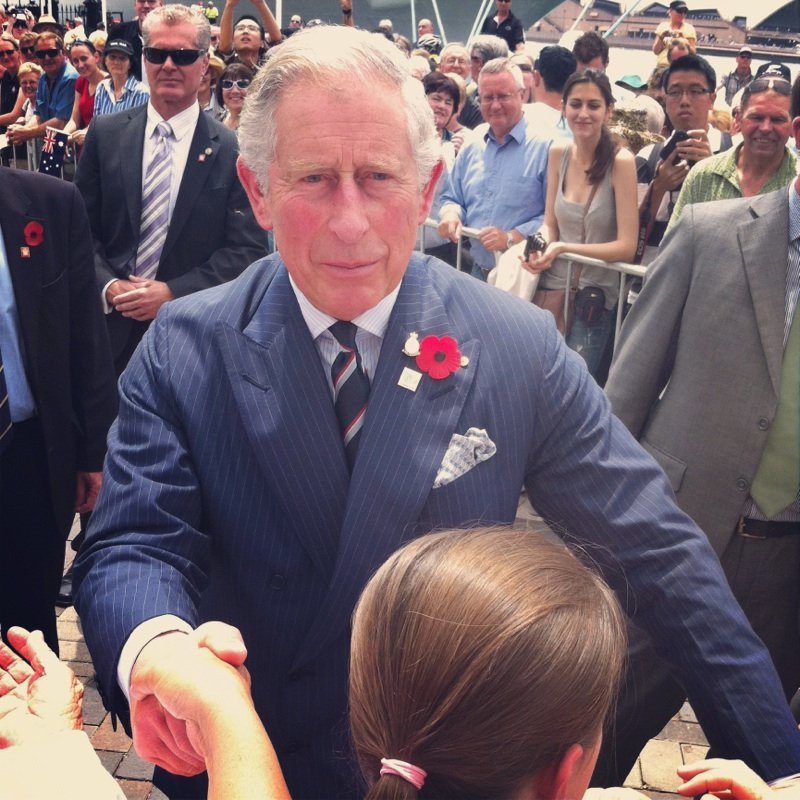 "Oh, hey, Prince Charles! Jess got up close and personal with royalty. He asked, ""It's getting warmer, is it?"""