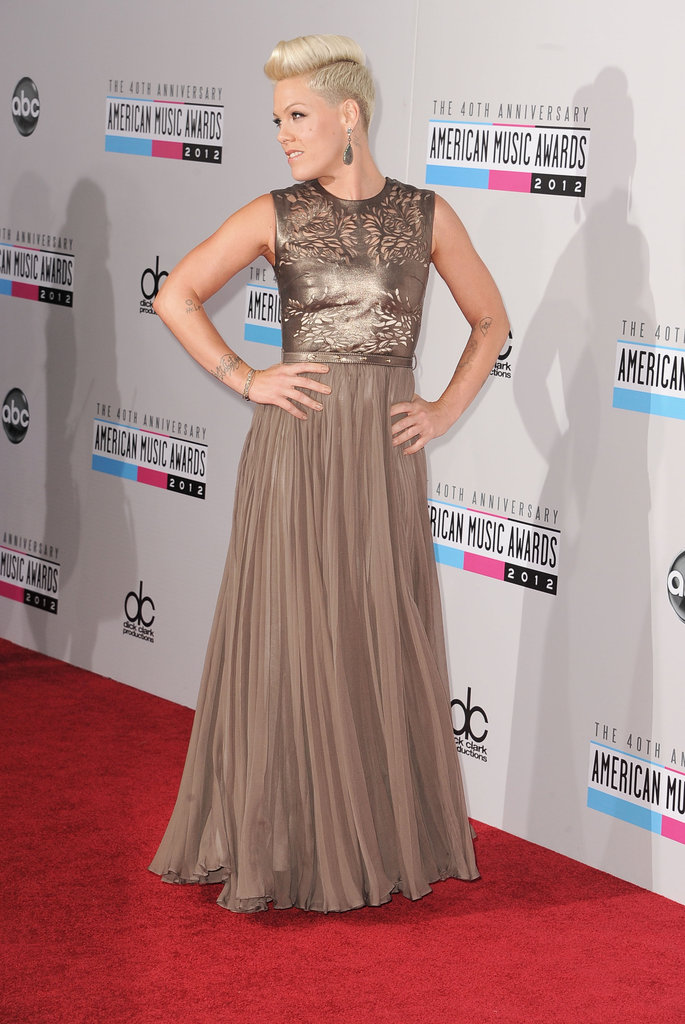 Pink hit the red carpet at the American Music Awards.