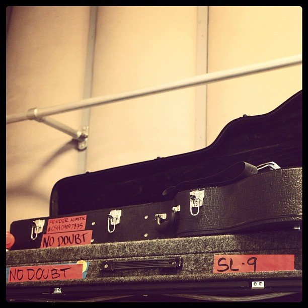 No Doubt packed up their gear prior to the show. Source: Instagram user nodoubt