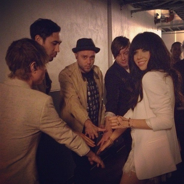 Carly Rae Jepsen huddled up with her bandmates before taking the stage. Source: Instagram user carlyraejepsen