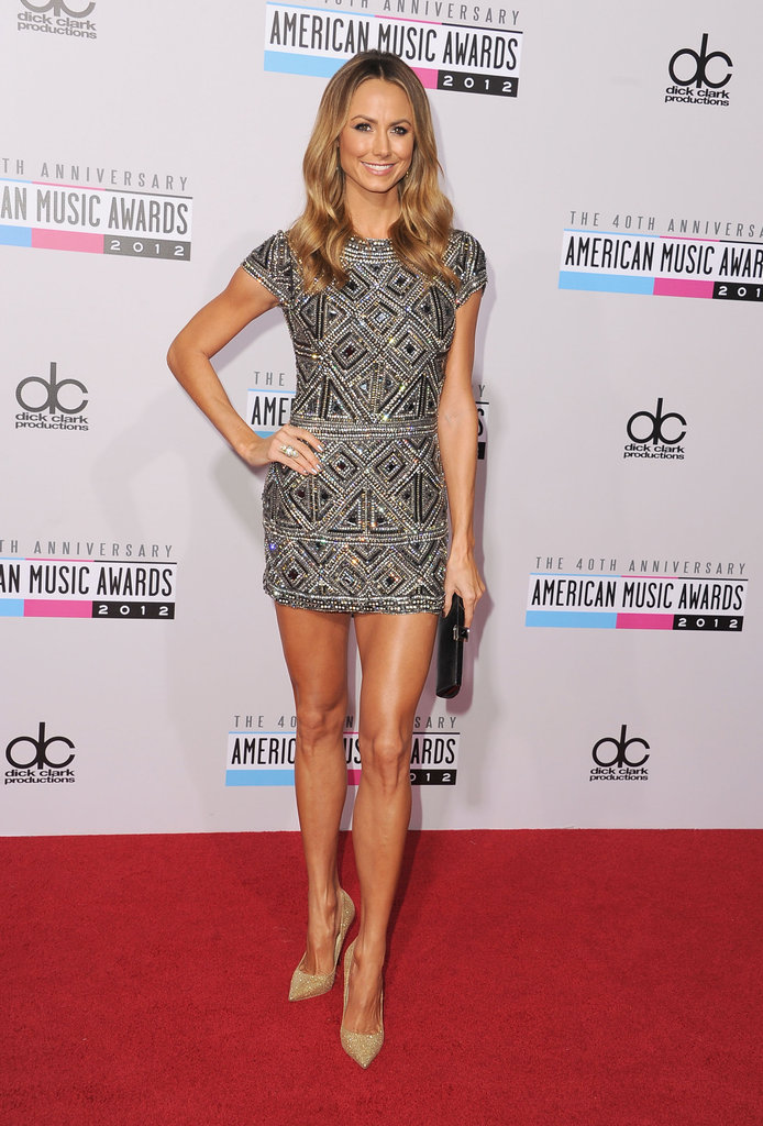 Stacy Keibler showed off her enviable legs in a jeweled Collette Dinnigan minidress and nude pumps.