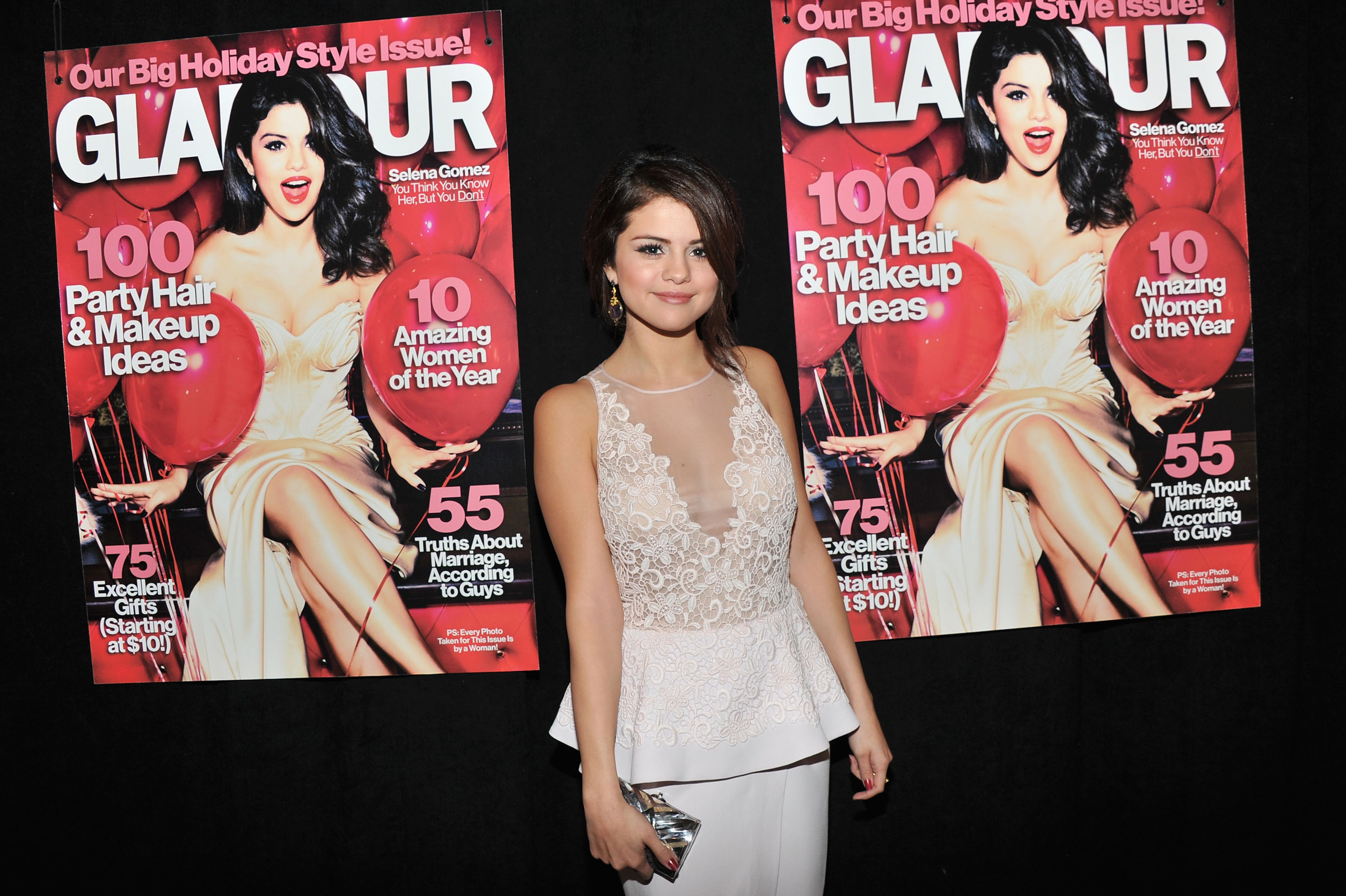 Selena Gomez stepped out in white for the Glamour Women Of The Year Awards in NYC.