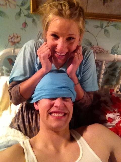 Heather Morris and Chord Overstreet got silly on the set of Glee. Source: Twitter user chordoverstreet