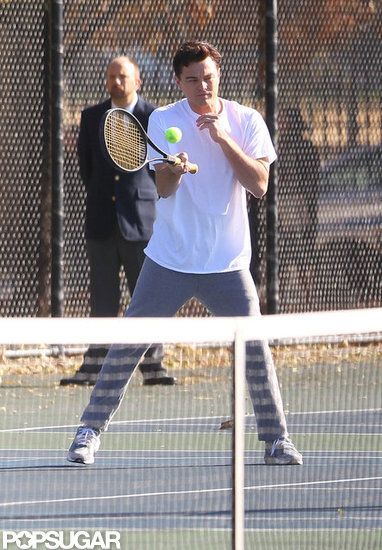 Leonardo DiCaprio played tennis on the set of The Wolf of Wall Street.