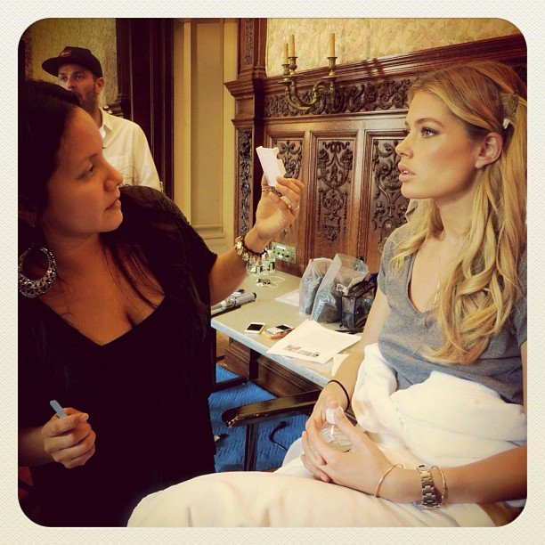 Doutzen Kroes got prepped for a Victoria's Secret holiday shoot. Source: Instagram user victoriassecret