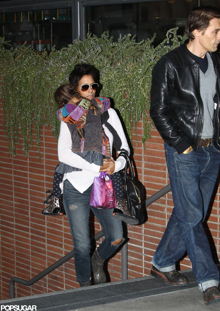 Halle Berry and Olivier Martinez went to a movie with Nahla Aubry in LA.