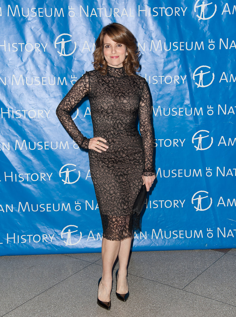 Tina Fey wore a high-necked lace dress.