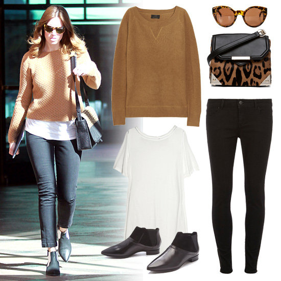 Mandy Moore Wearing Tan Sweater and Black Pants