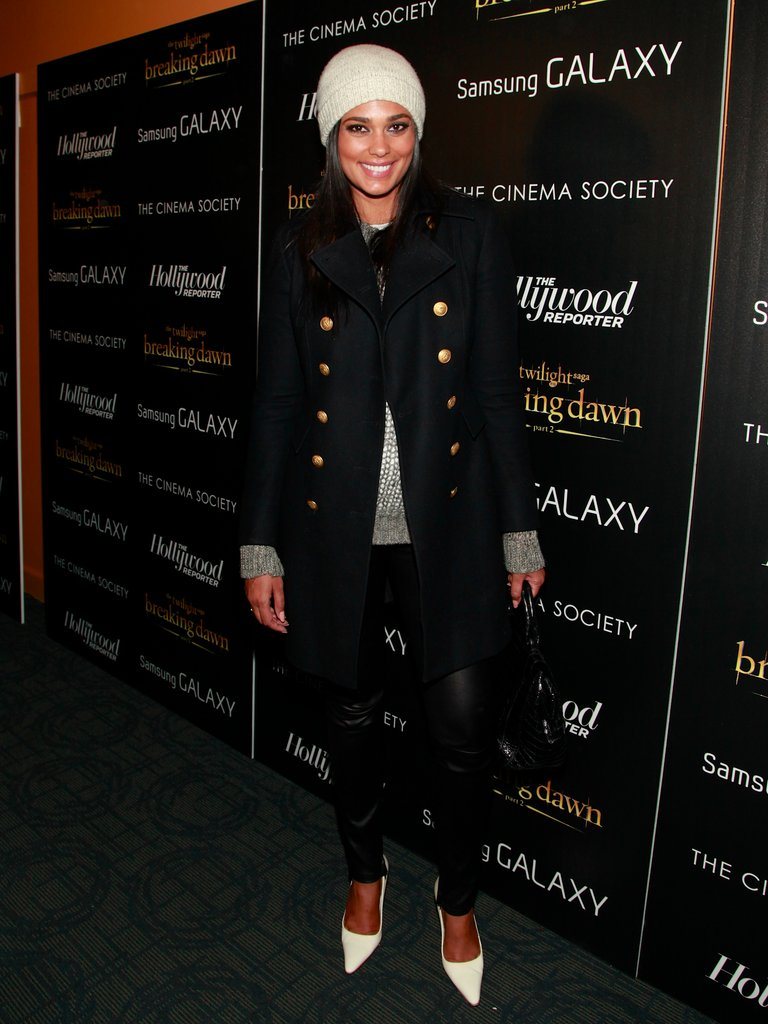 Rachel Roy kept it cute and Winter-classic in a peacoat, knit hat, and heels.