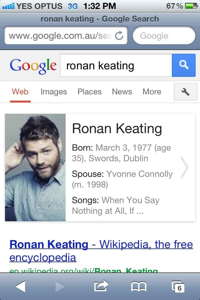 Vogue Williams did a Google search on Ronan Keating and came across a familiar face . . . Source: Twitter user VogueWilliams