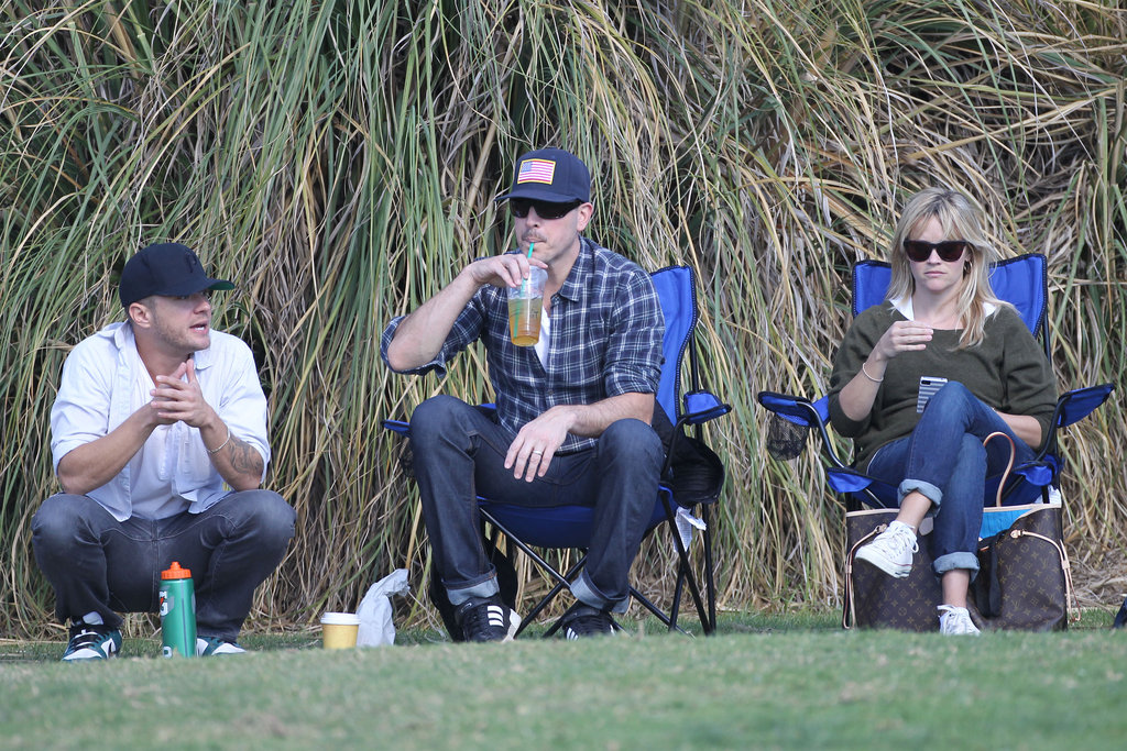 Ryan Phillippe, Jim Toth and Reese Witherspoon came together to watch Reese and Ryan's son Deacon play soccer in LA on November 8.
