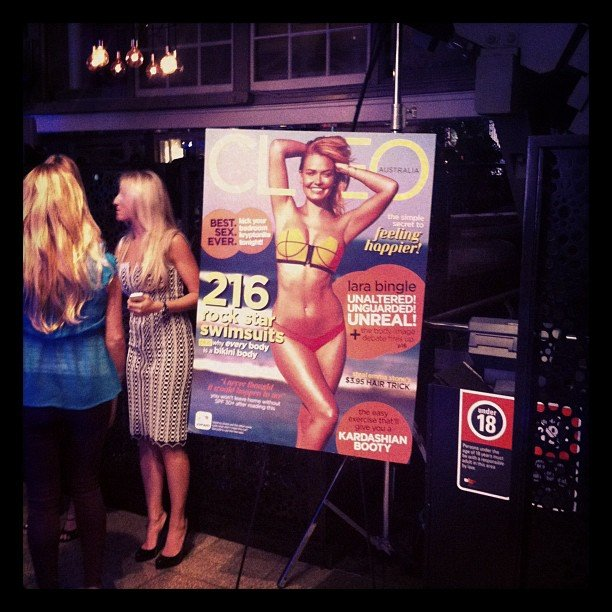 Lara Bingle, doin' her thang on the cover of CLEO at the annual Swim Party.