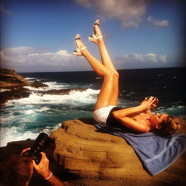 Jessica Hart kicked her heels up on a photo shoot. Source: Instagram user 1jessicahart