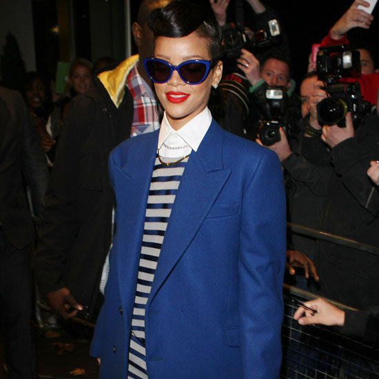Rihanna Wearing Blue and Gray Striped Suit