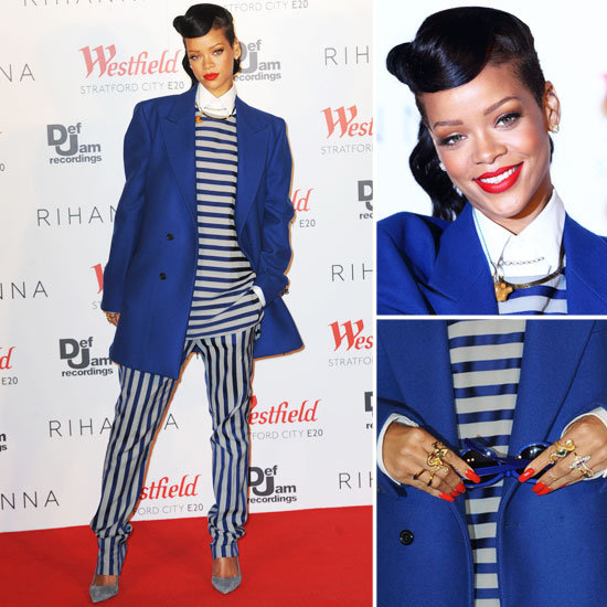 Rihanna's Fresh Off the Runway in a Striped Menswear Look