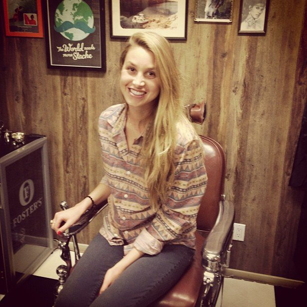 Whitney Port honoured Movember in a classic barber shop.  Source: Twitter User WhitneyEvePort