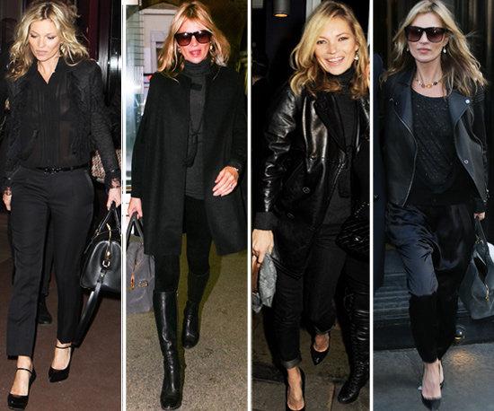 Kate Moss, adepte du noir sur noir !