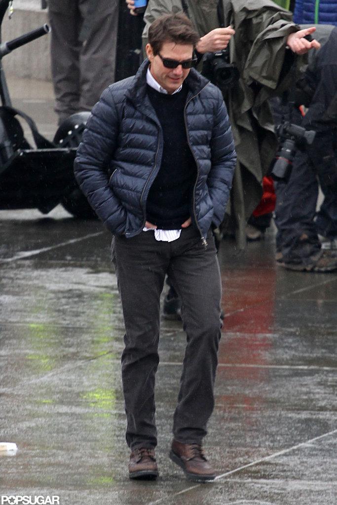 Tom Cruise walked onto his London set.
