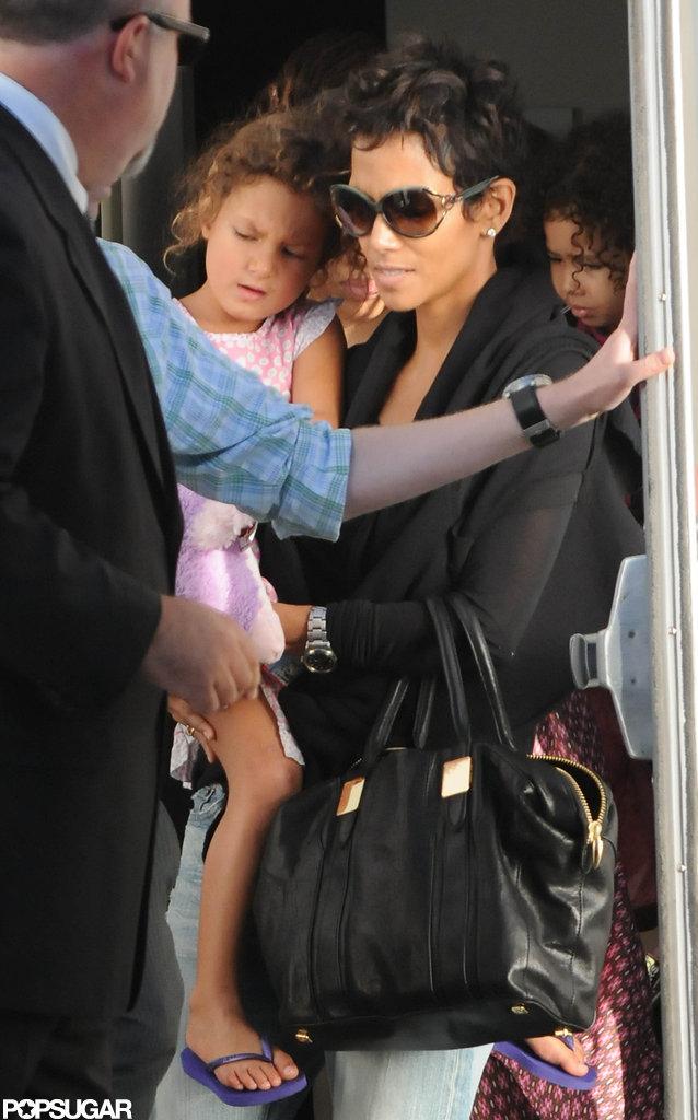 Halle Berry accompanied Nahla Aubry to Yo Gabba Gabba in LA.