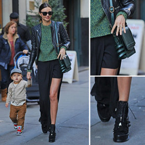 Miranda Kerr Green & Black Street Style Outfit Inspiration