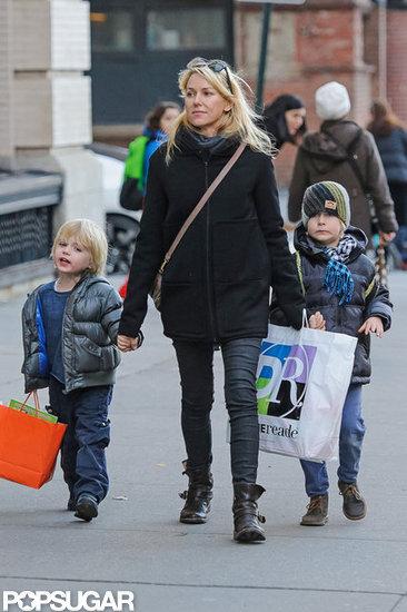 Naomi Watts walked with Sasha Schreiber and Kai Schreiber.