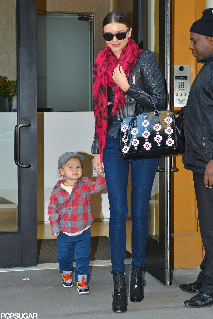 Miranda Kerr held hands with Flynn Bloom.