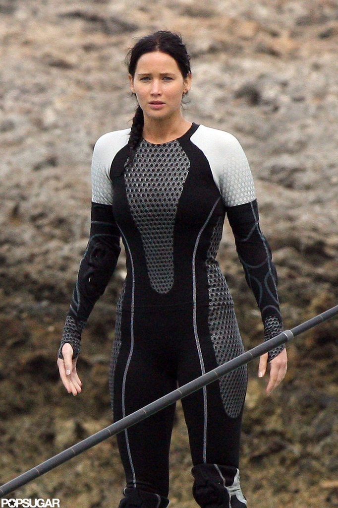 Jennifer Lawrence wore a wet suit to film for Catching Fire in Hawaii.