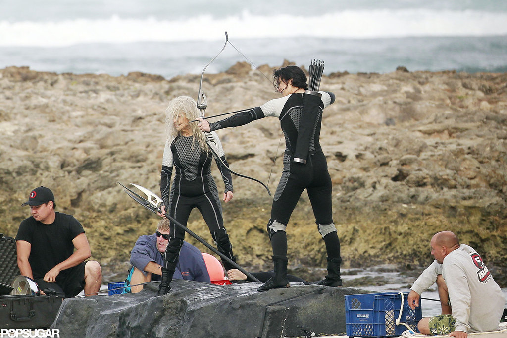 Jennifer Lawrence had her bow and arrow out to film scenes in Hawaii.