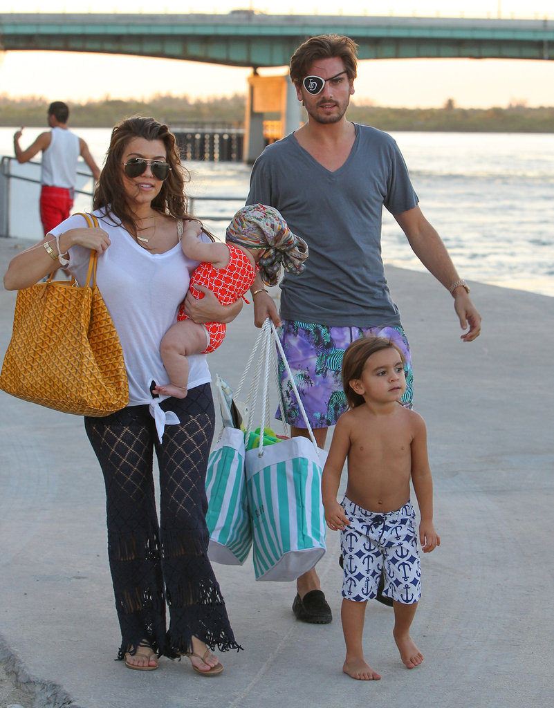 Kourtney Kardashian and Scott Disick headed to the beach with Mason and Penelope.