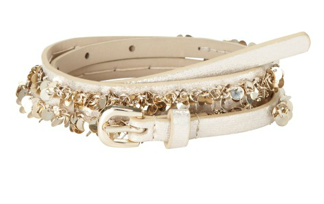This skinny belt with paillettes from Loft ($35) would look amazing with everything from jeans to trousers to a dress.