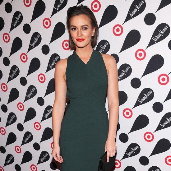 Leighton Meester Wearing Dark Green Dress