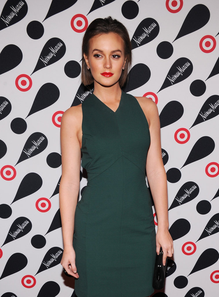 Leighton Meester wore a hunter green dress.