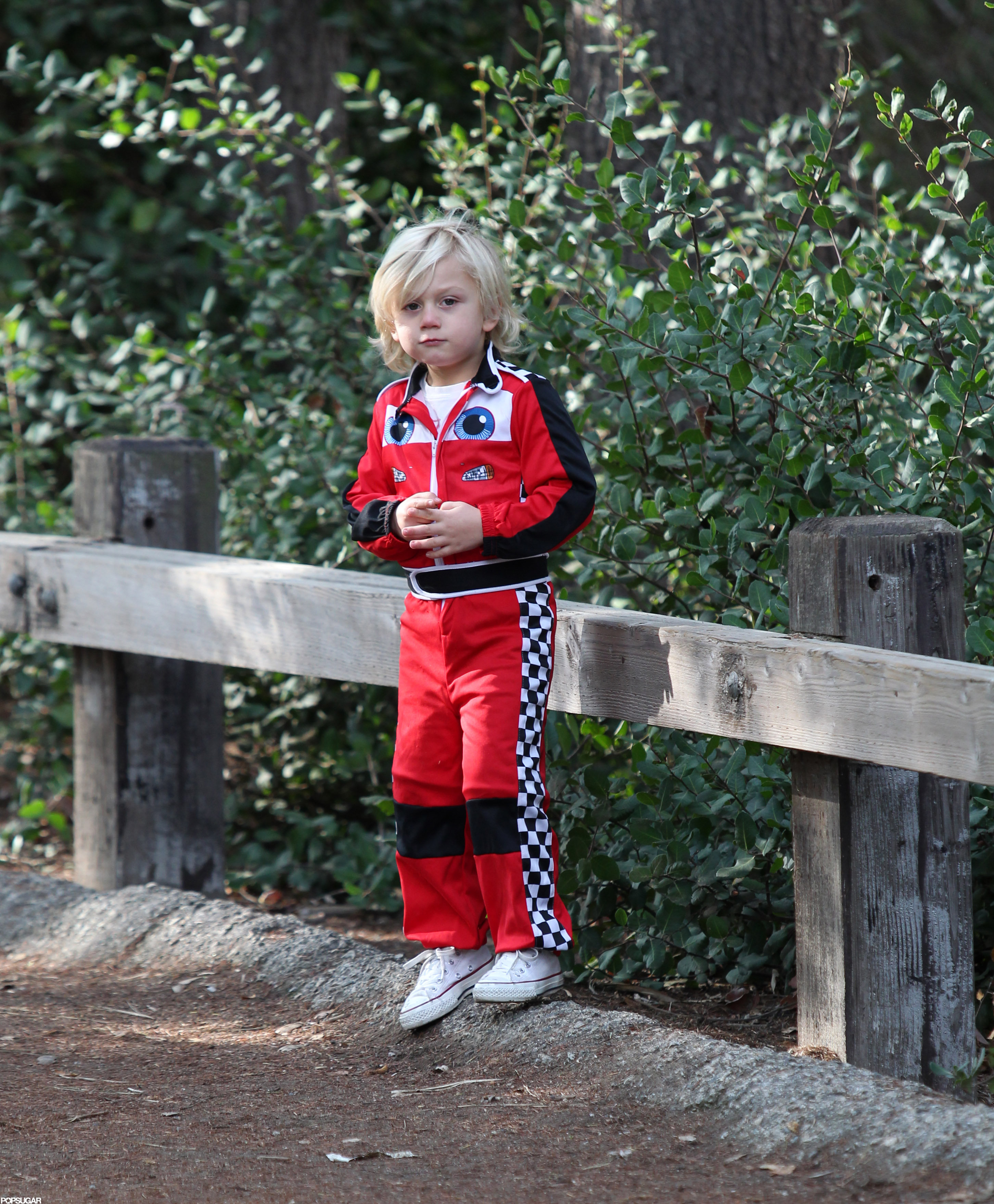Zuma Rossdale wore a race car driver outfit.