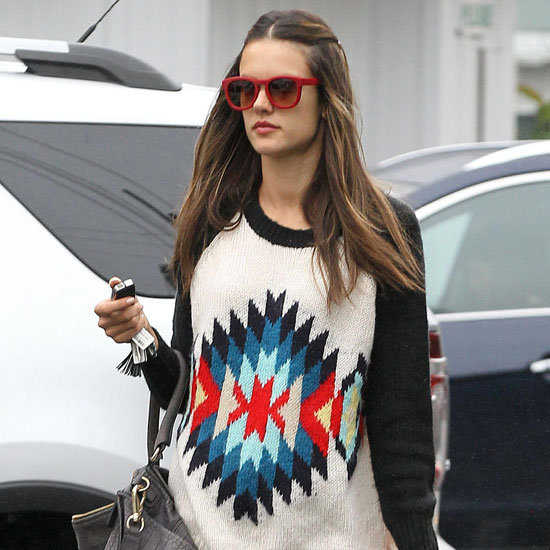 Alessandra Ambrosio Wearing Colorful Geometric Sweater