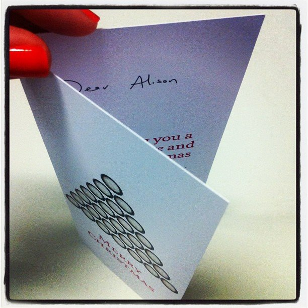'Tis the season! Alison received her very first Christmas card of the year — love this time of year!