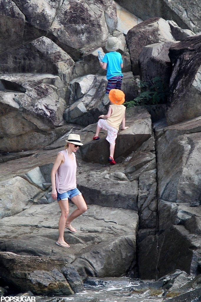 Naomi Splashes Around in a Bikini With Shirtless Liev Schreiber & Sons