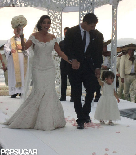 Mario Lopez and Courtney Mazza had their 2-year-old daughter by their side as they tied the knot near Punta Mita, Mexico, in December 2012.