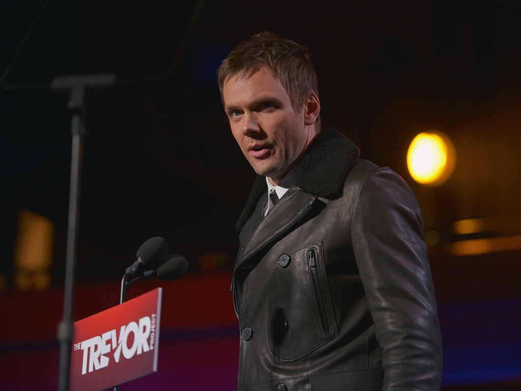 Joel McHale wore a black coat at the benefit.