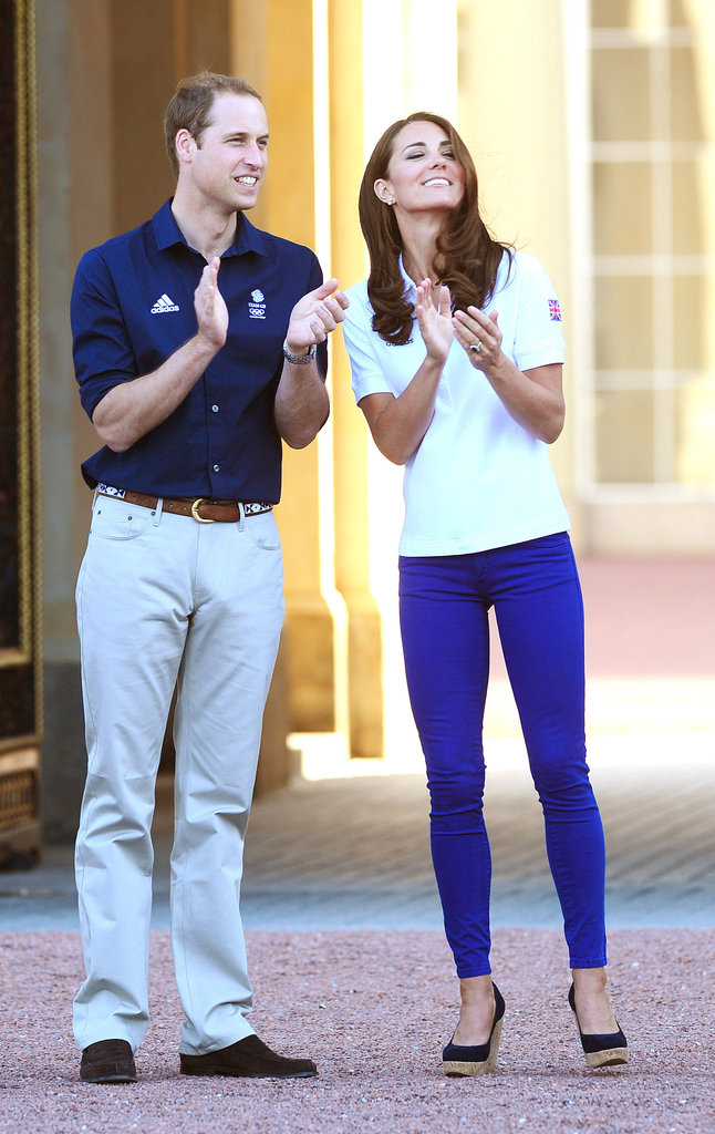 Kate Middleton and Prince William welcomed the Olympic torch to London before the Opening Ceremony in July 2012.