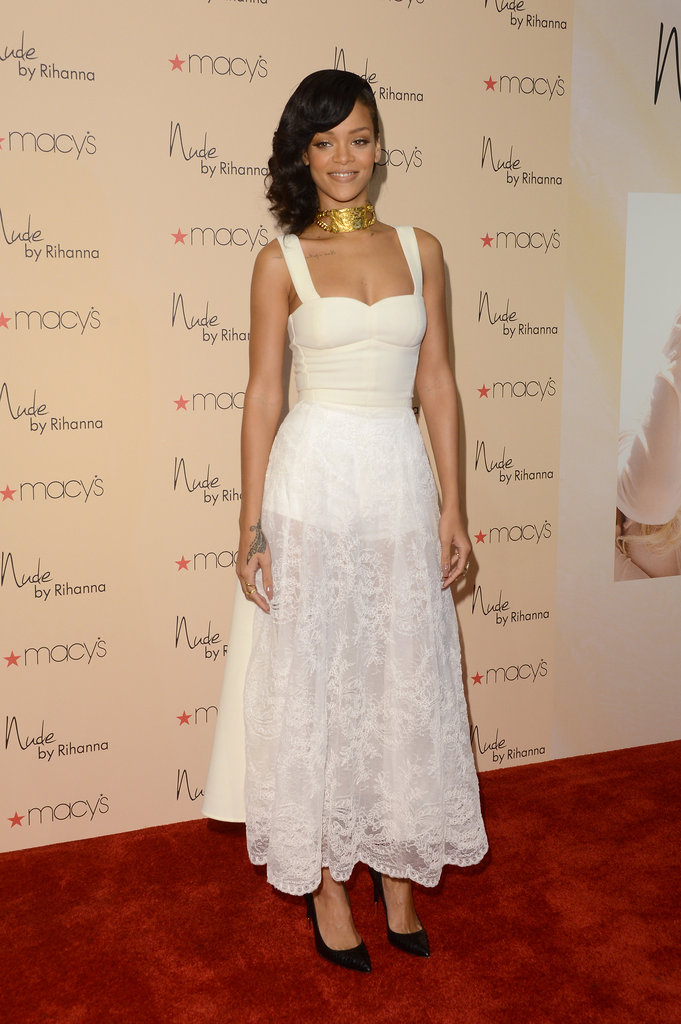 Rihanna attended her Nude by Rihanna fragrance launch wearing a corset dress by Nini Nguyen featuring a half silk crepe, half sheer lace skirt.